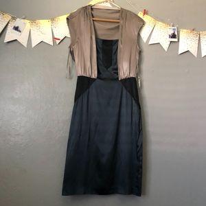 Diane Von Furstenberg tri colored silk formal dres